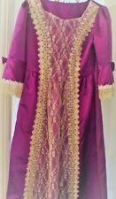 Period Theatrical Dress Size medium. Violet with gold embossed lace. Back lacing
