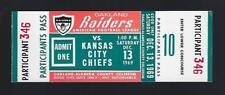 1969 AFL NFL KANSAS CITY CHIEFS @ OAKLAND RAIDERS FULL UNUSED FOOTBALL TICKET