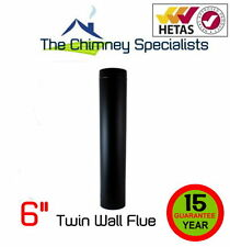 "Volcano Plus Twin Wall Flue Pipe 1 metre length 6"" Black Powder Coated Chimney"