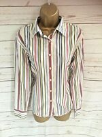Tommy Hilfiger Ladies Striped Stripe Shirt Red Yellow Green - Size 10 (UK 12)