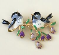 Vintage style Two Birds on a tree Branch Brooch Pin in enamel on gold tone metal