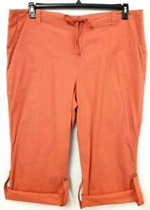 Style&co. orange spandex stretch drawstring mid rise rolled hem capri pants 20W