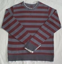 Mens layered effect long-sleeved grey & claret cotton BURTON top, size Small
