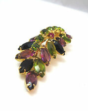 VTG GORGEOUS GOLD TONE PURPLE GREEN BLACK RHINESTONE EMBELLISHED PIN BROOCH **