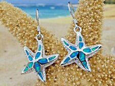 REAL STERLING SILVER BLUE OPAL INLAY STARFISH DANGLE WIRE EARRINGS