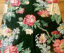 Vintage 1940's Floral Fabric ~ Pink Magenta Blue Green on Black