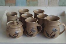 Australian Pottery Coffee Mugs x 6, Sugar Bowl & Milk Jug *Shirley Wilkins