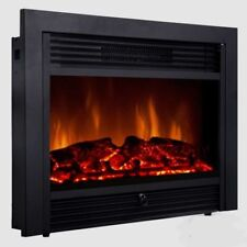 27.5in Embedded Fireplace Electric Insert Heater Glass View Log Flame Remote