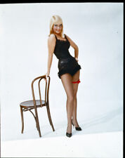 MAY BRITT Sexy Vintage Pin Up Stockings Original 5x4 Photo TRANSPARENCY Slide