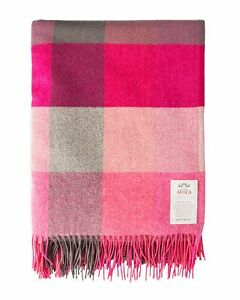 100% Pure Wool Throw by Avoca (Design: pink fields) - Made in Ireland