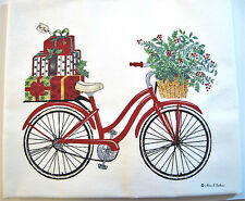 Alice's Cottage Cotton Flour Sack Kitchen Tea Towel Holiday Bicycle - NEW