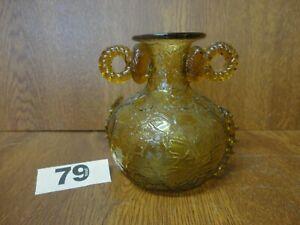4 Inch Vintage Topaz Art Glass Vase