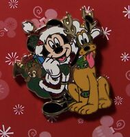 Disney Pin Mickey and Pluto in Santa and Reindeer Outfits