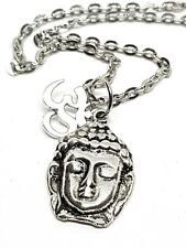 Thai Buddha & Om Silver Link Chain Necklace Buddhist Peace Ethnic Pendant
