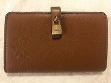 Michael Kors Adele Luggage Pebble Leather Slim Bifold Wallet 35h8gaff2l