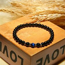 Black 6 mm Healing Energy Bracelets Natural Polished Royal Blue Tiger Eye Stone