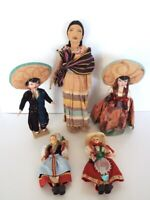 Vintage Doll Lot Italy Mexico International Handcrafted Paper Mache Celluloid
