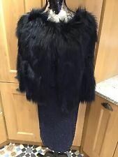 Next Blue Black Faux Fur Gilet/Cape Size 8 Boho Hippie