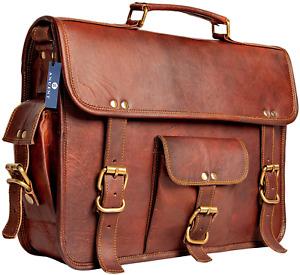 New Men's Women Genuine Vintage Leather Satchel Messenger Laptop Briefcase Bag