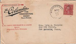 1927 Insurance Cover, 2c carmine Washington, hand stamped, fancy cancel