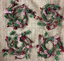 """DLCC~Set of 4 ~1.5"""" candle rings homespun pine/ Pip Berry Primitive 4"""" wide"""