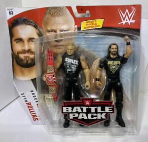 WWE Battle Pack Brock Lesnar Seth Rollins Action Figures Series 63 Mattel 2019