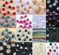 100pcs 4mm Loose Rhinestone Crystal Bicone Spacer Beads Clear Black Rose Blue