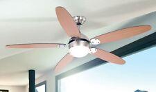 Ventilateur de plafond Lampe pendante Lustre Plafonnier Métal/Verre/Bois 53541