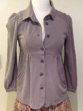 $10 DARYL K-189 BARNEY'S NEW YORK CO-OP Grey Stretch Knit Cardigan Jacket SMALL