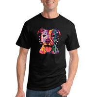 Colorful Pitbull Mens Dog T-Shirt Graphic Animals Tee