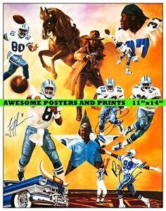 "NFL Dallas Cowboys Legends, Aikman, Irvin, Smith Signed Poster Reprint (11""x14"")"