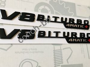 2 X V8 BITURBO 4MATIC+ Gloss Black BADGE FOR MERCEDES AMG C63 E63 GLC63 GLS63