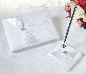 White Lace Satin Romantic Wedding Guest Book And Pen Set