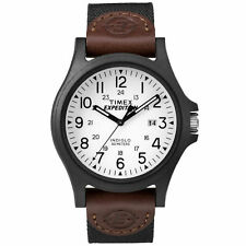 Mens Timex Indiglo Expedition Black Nylon Band White Dial Date Watch TW4B08200