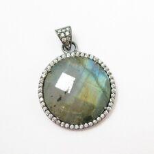Oxidized Silver Round Bezel Labradorite  Gem Pave Cubic Zirconia Pendant