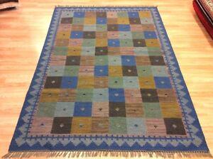 Blue Multi ETHNIC TRIBAL Geometric Hand Woven Wool Reversible Kilim Rugs -50%RRP