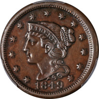 1849 Large Cent PCGS XF45 N-8 R.3 Superb Eye Appeal Strong Strike