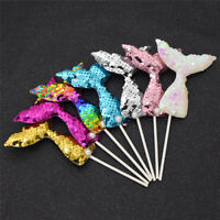 7pcs Mermaid Cake Topper Colorful Paillette Girls Birthday Party Decor Sequins