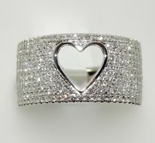 14k WHITE GOLD DIAMOND PAVE HEART WIDE BAND