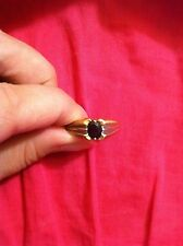 10K Yellow gold ring blue sapphire NICE design Size 9.5 2.6 grams