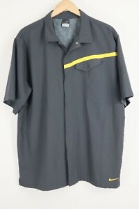 Nike Mens sz XXL Grey Sphere Dry Snap Button Short Sleeve Shirt Retro