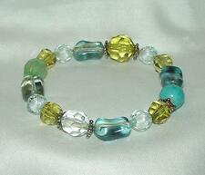 HAND-MADE TURQUOISE, CLEAR, GREEN & CITRINE COLOR ACRYLIC BEAD STRETCH BRACELET
