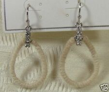 American Eagle Outfitters pretty white wrapped hoop earrings-AEO
