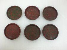 Lot of 6  Vintage Plastic Beverage Coasters Red & Green  USED