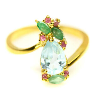 NATURAL SKY BLUE TOPAZ, EMERALD & SAPPHIRE STERLING 925 SILVER RING SZ 7