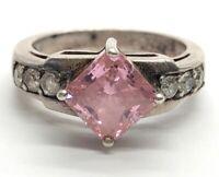Diamonique Vintage Sterling Silver Ring 925 Size 6 Pink CZ Designer DQ CZ