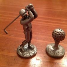 Pewter 2 Piece Detailed Golfer and Golf Ball on Tee Figurine- Man Playing Golf
