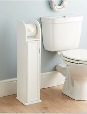 White Wood Free Standing Toilet Paper Roll Holder Bathroom Storage Cabine