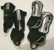 Kids Soccer Shin Guards Lot Youth Sz M Adidas and Mitre 2 Pairs Black + Silver