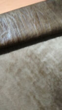 Latte brown hair on distressed embossed shearling sheep  lamb skin pelt  hide